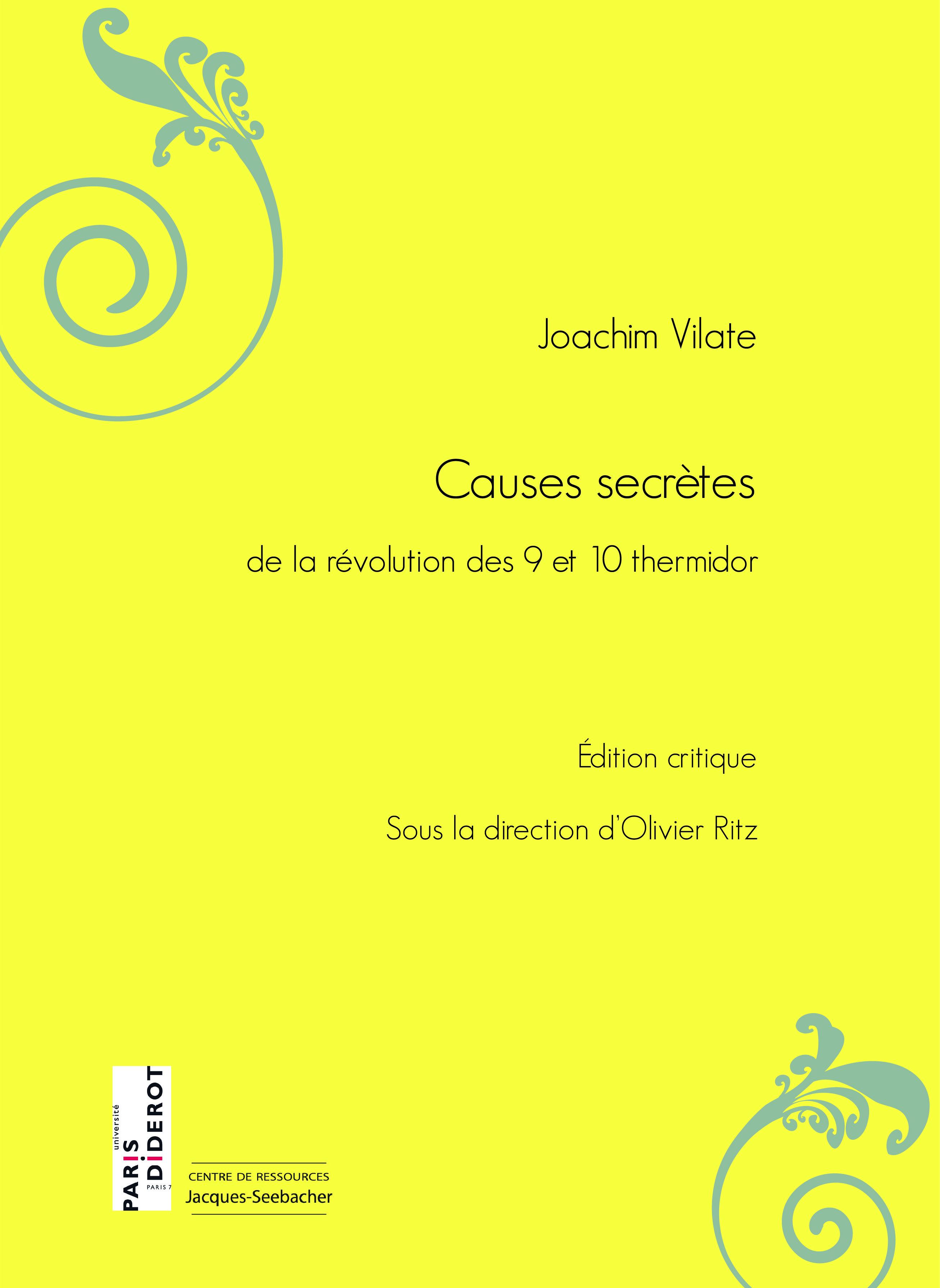 Couverture de l'édition critique des Causes secrètes