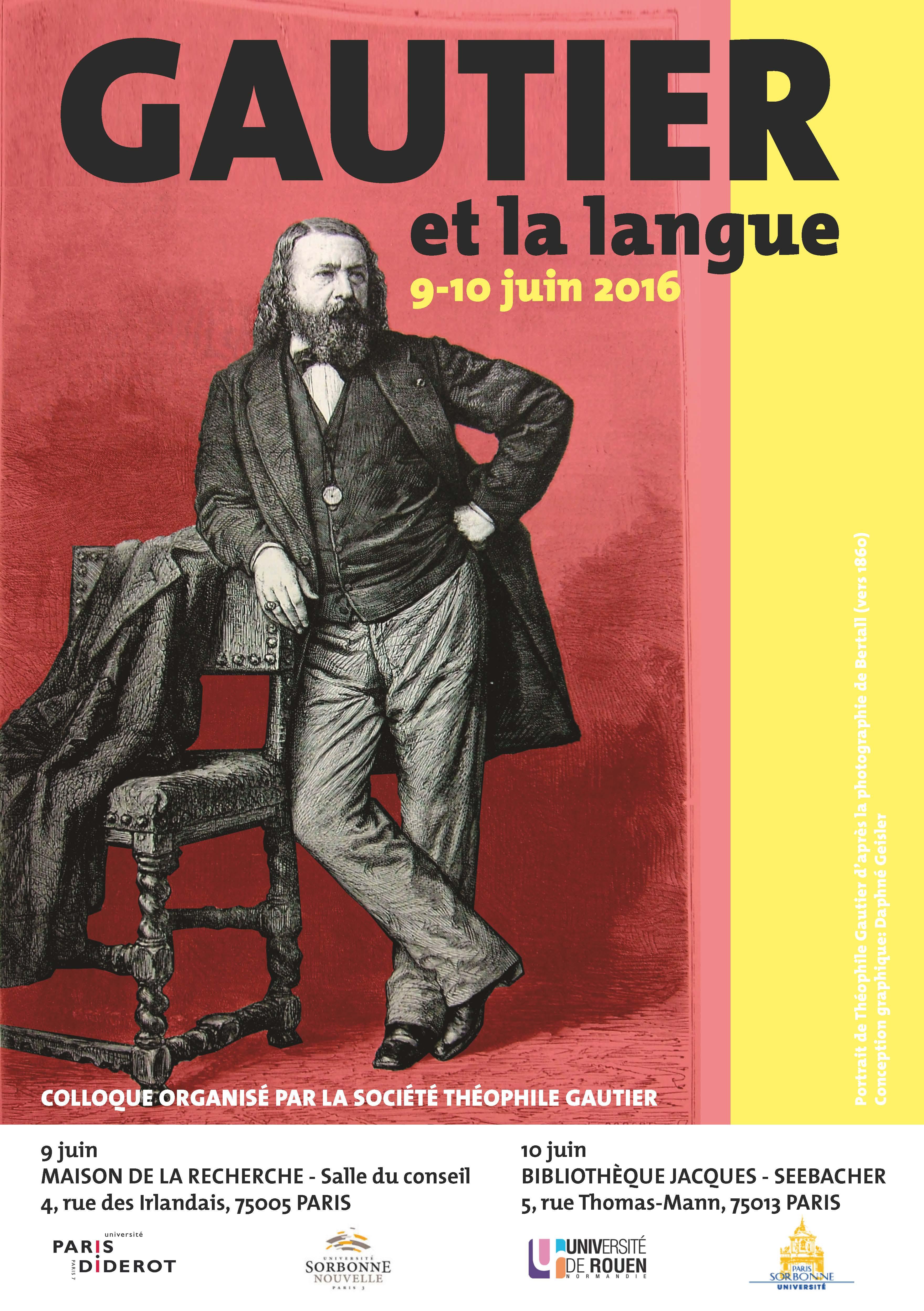Affiche colloque Gautier et la langue