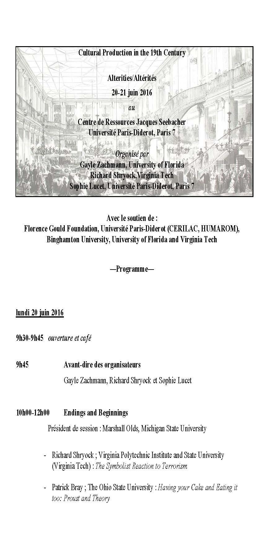 Aperçu du programme (première page) - Atelier 2016