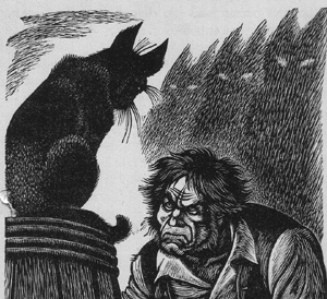 "Gravure de Fritz Eichenberg, illustration de ""The Black Cat"" d'Edgar Poe, 1944."