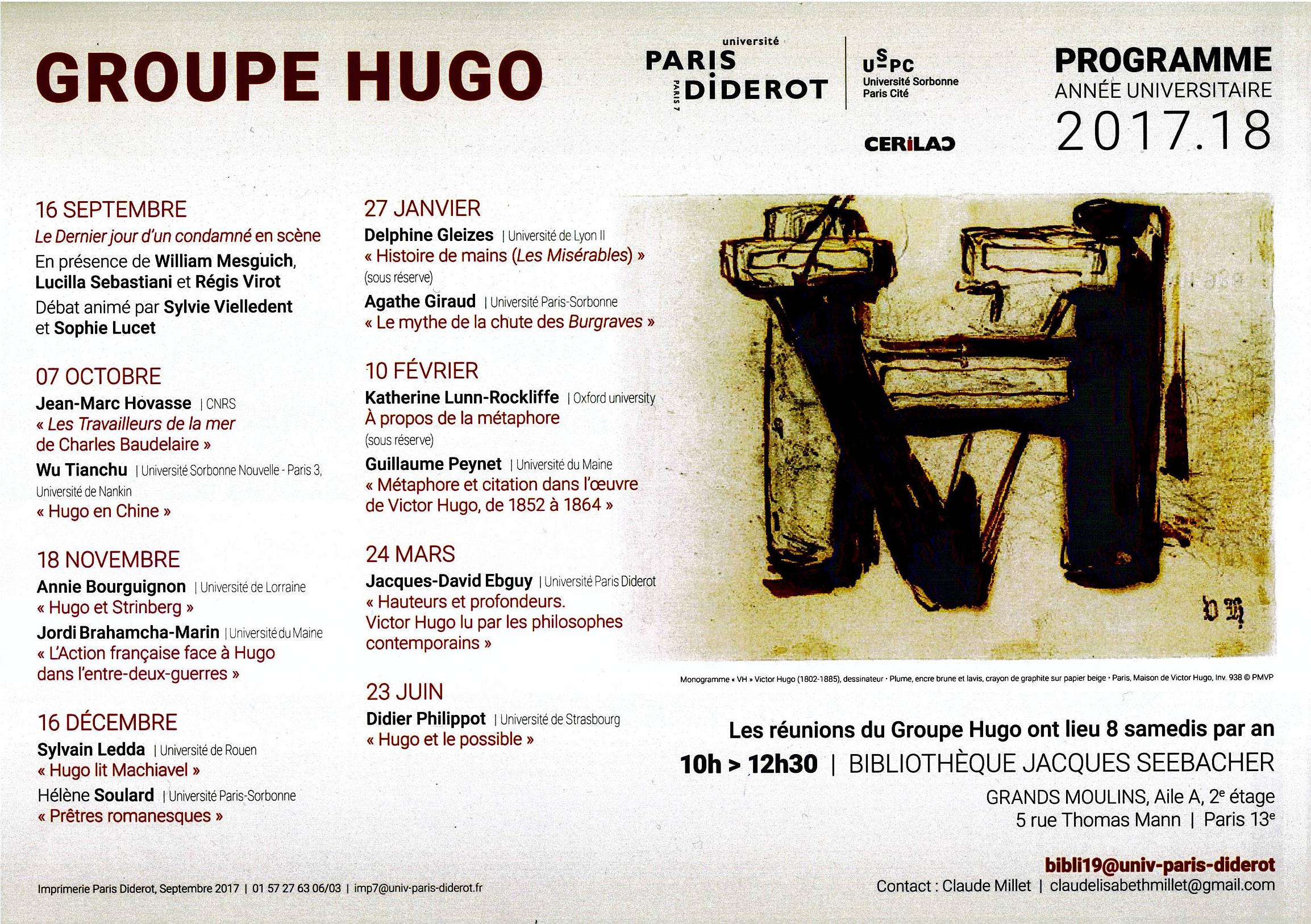 Programme Groupe Hugo 2017-2018