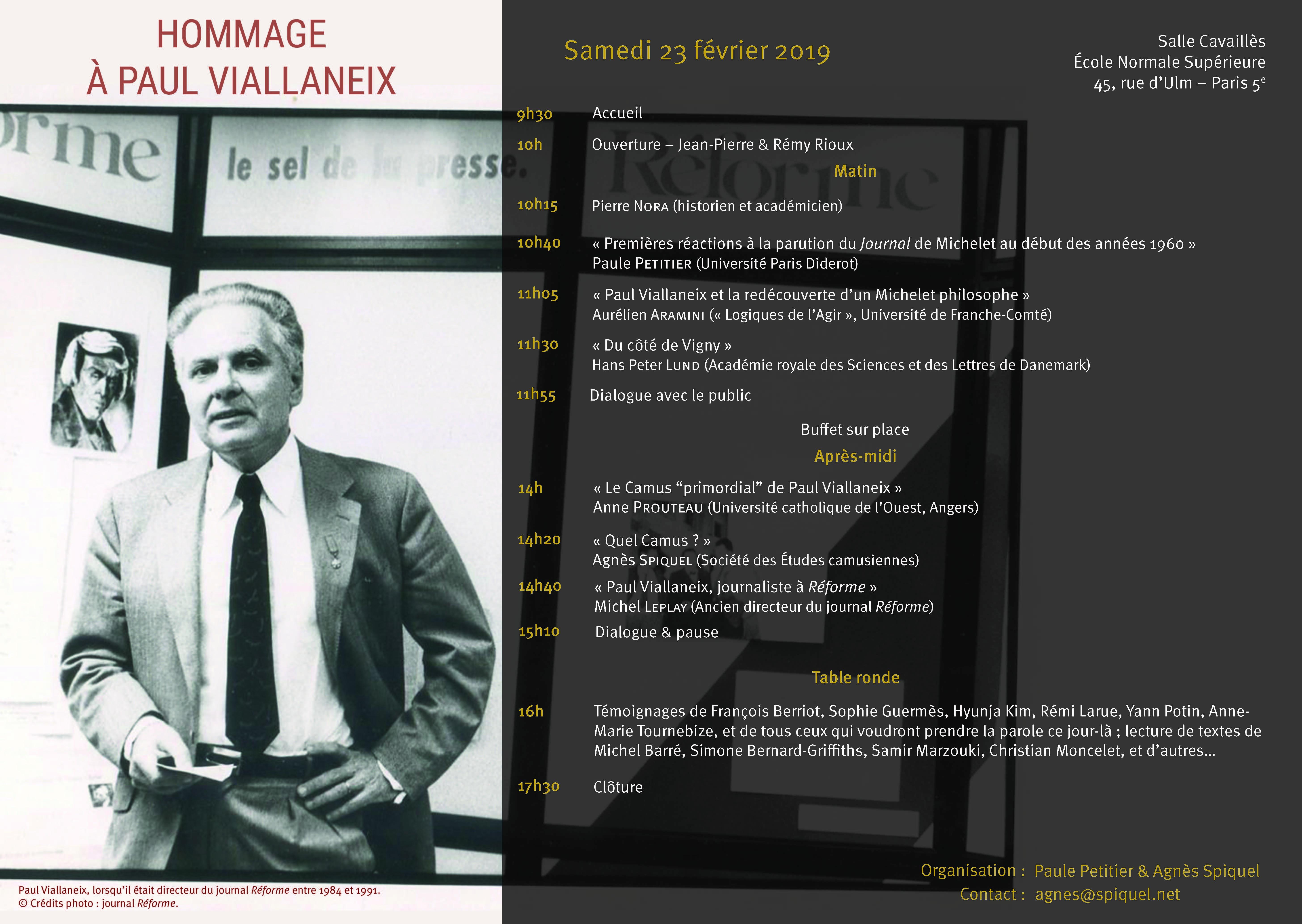 Hommage Viallaneix 23 février 2019 Programme