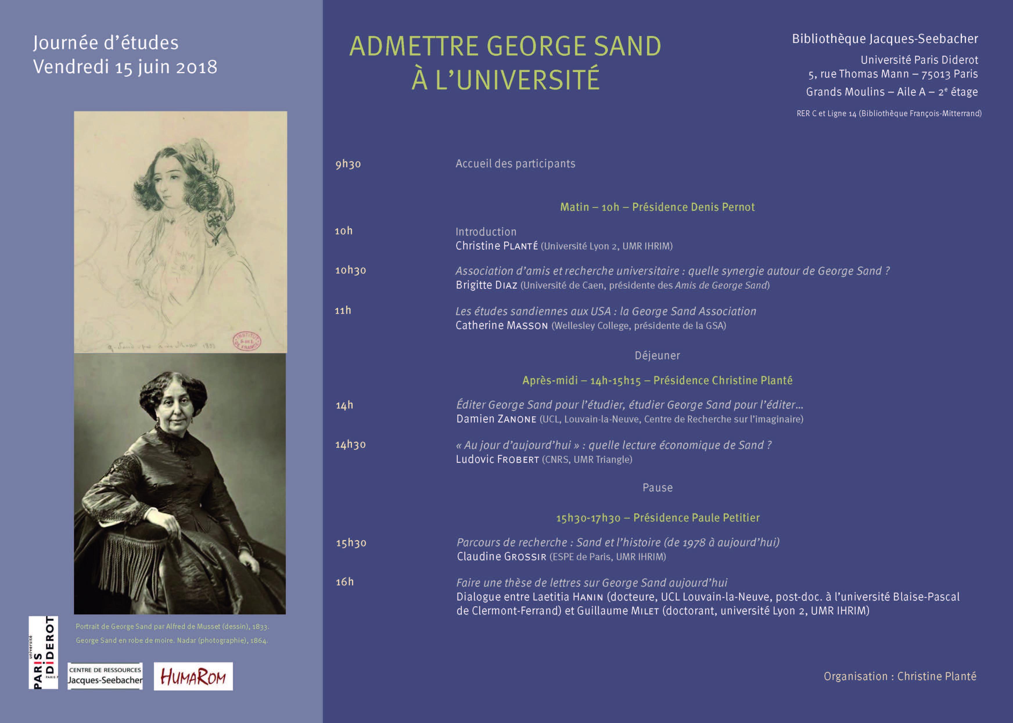 Affiche-programme Journée d'études Sand