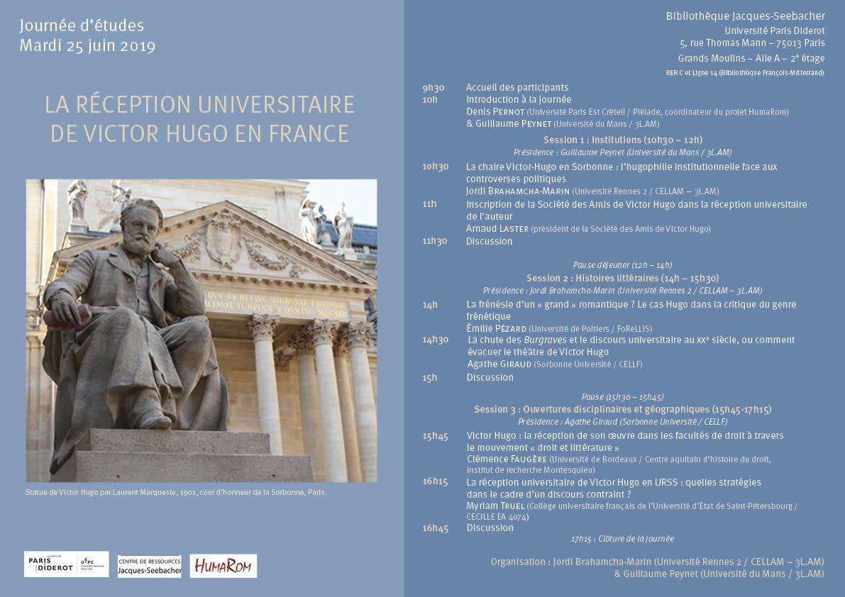 Programme Journée Hugo HumaRom