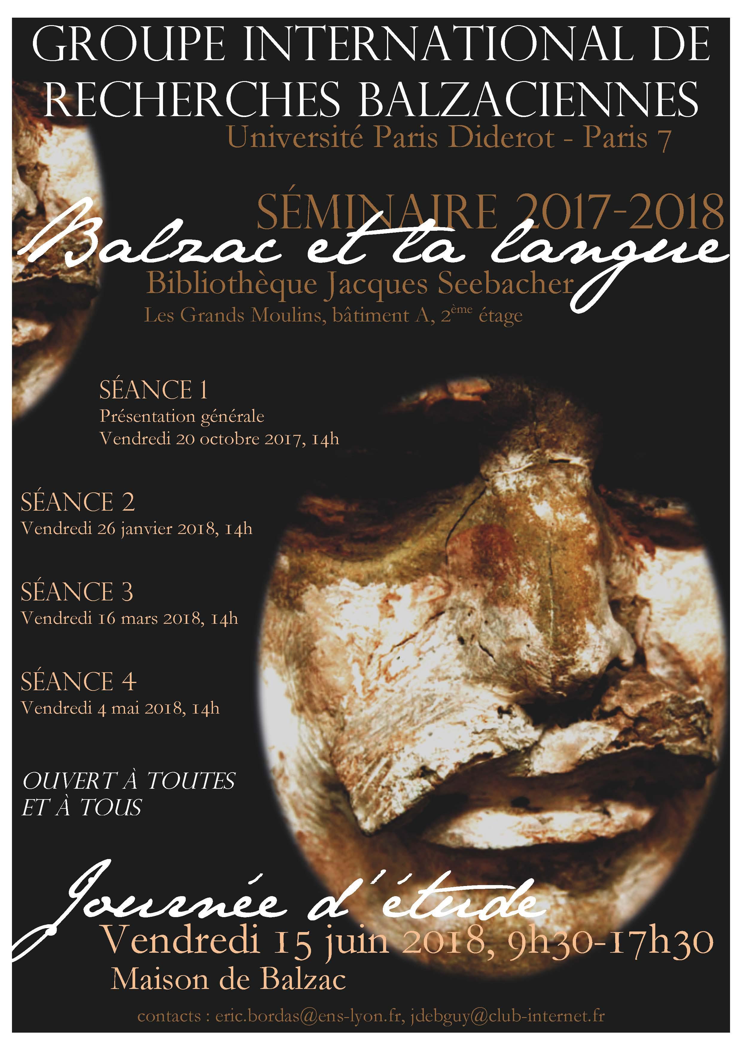Affiche séminaire Balzac 2017-2018