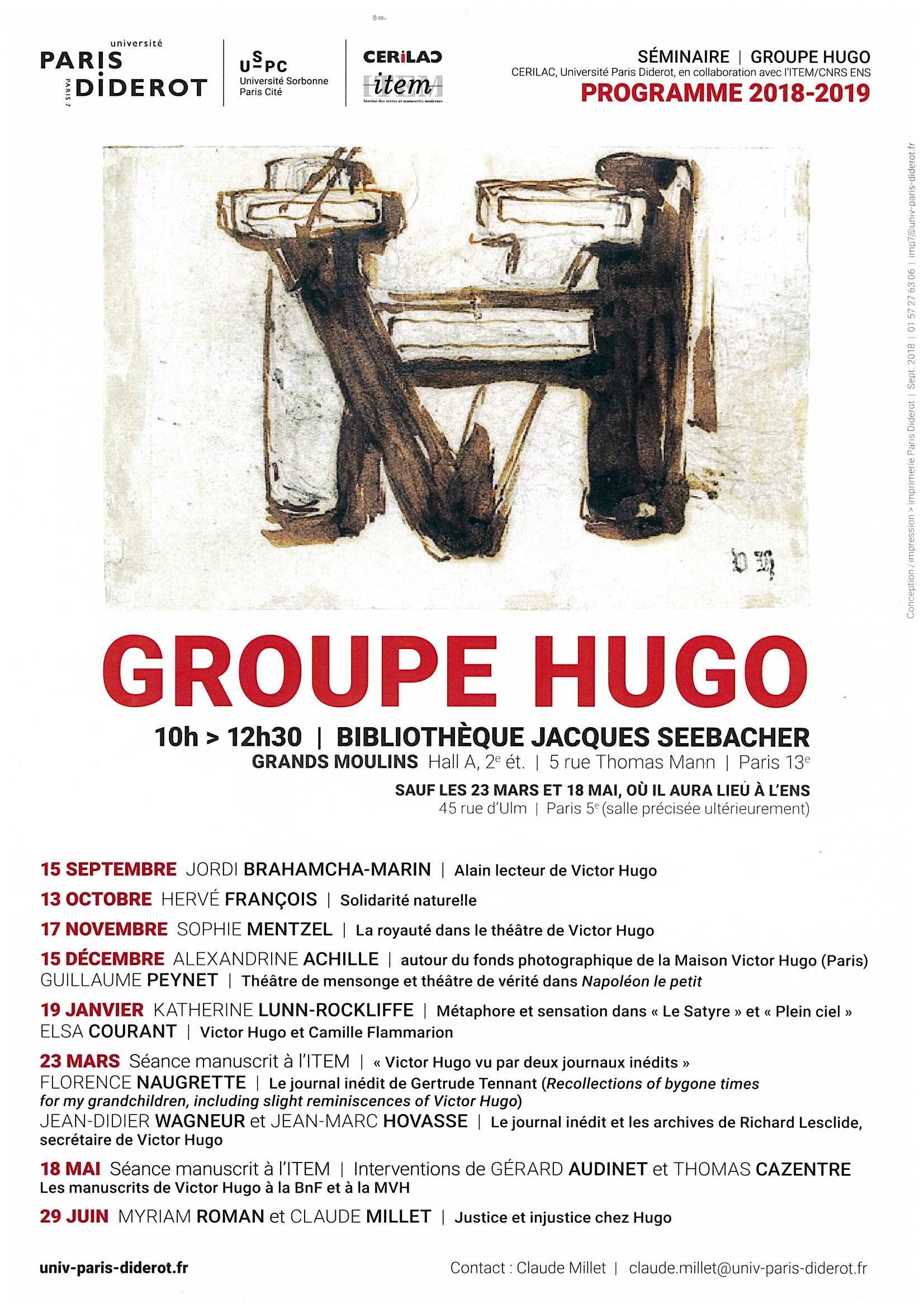 programme groupe hugo 2018-2019